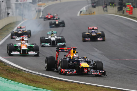 Sebastian Vettel held onto the championship lead through the changing conditions (and a lap one spin) at Interlagos (Photo Credit: Mark Thompson/Getty Images)