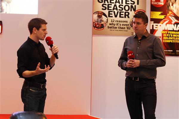 Crofty with expert analyst Anthony Davidson at the F1 Racing Stand (Image Credit: Autosport International)
