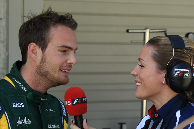 Giedo van der Garde speaking to Natalie Pinkham at last season's Japanese Grand Prix - Photo Credit: Caterham F1 Team