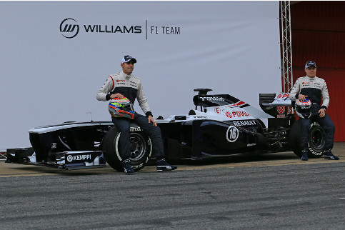 Pastor Maldonado (left) and Valtteri Bottas unveiled the new Williams FW35 early this morning - Photo Credit: Octane Photographic