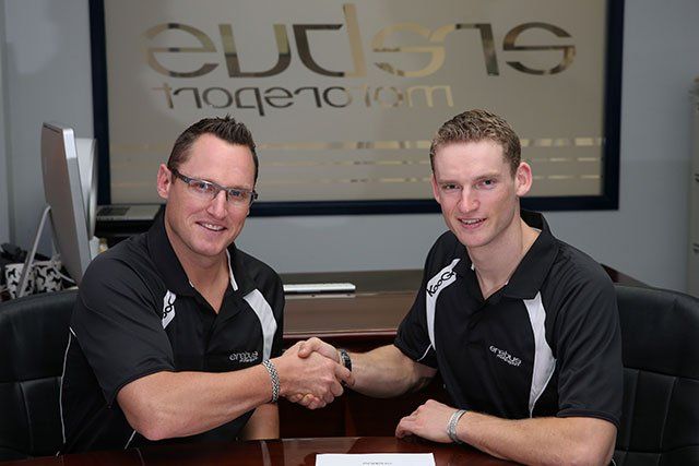 Maro Engel (right) with Ryan Maddison after signing a multi-year agreement with V8 Supercar team Erebus Motorsport