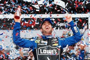 Johnson saw off a last lap challenge from Dale Earnhardt Jr. to make the trip to Victory Lane (Photo Credit: Chris Graythen/Getty Image)