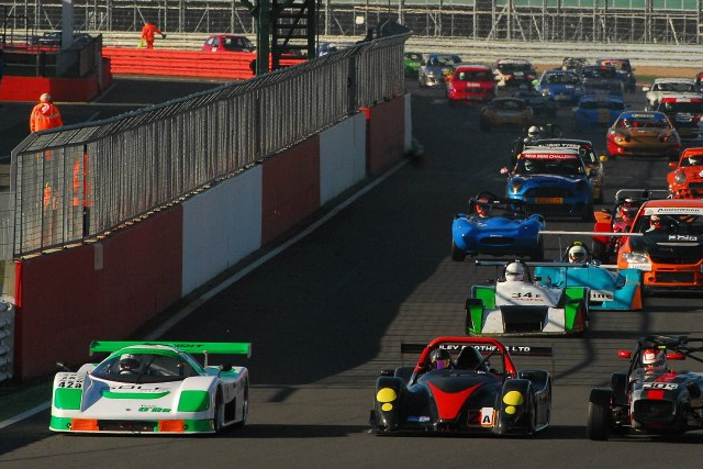Team O'BR's Saker leads at the start of the Birkett Relay at Silverstone
