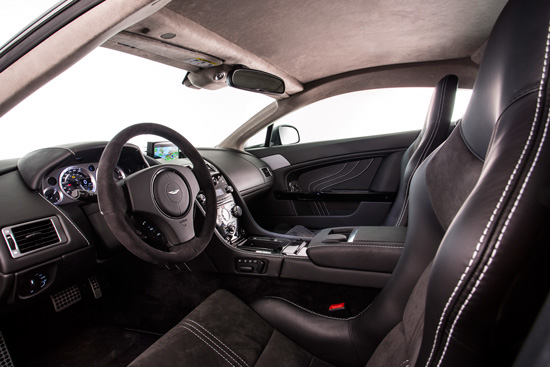 Black is the dominant colour in the vehicle interior.