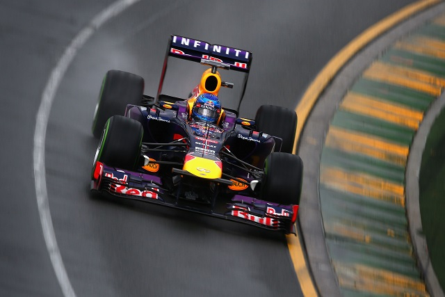 Sebastian Vettel will lead a Red Bull Racing 1-2 off the front row of the grid in today's Australian Grand Prix after a stunning late lap on a drying track in Q3
