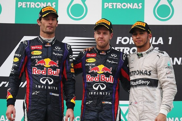 The podium finishers at Sepang - Photo Credit: Mark Thompson/Getty Images