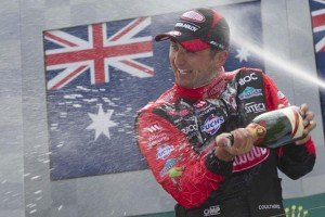 Fabian Coulthard celebrates his maiden V8 Supercars round win in Melbourne
