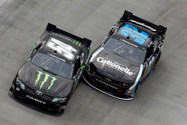 Busch (54) held off Larson by just 0.023 seconds (Photo Credit: Photo by Jeff Zelevansky/NASCAR via Getty Images)