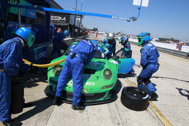 The Team Falken Tire drivers praised the pit crew for flawless work during the race (Photo Credit: Porsche North America)