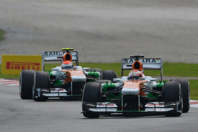 Wheelnut problems ended the Grand Prix for both Force India after strong starts (Photo Credit: Force India Formula One Team)
