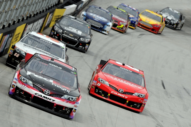 Hamlin spun Logano (penultimate car in image) while fighting over second place (Photo Credit: Jared C. Tilton/Getty Images)