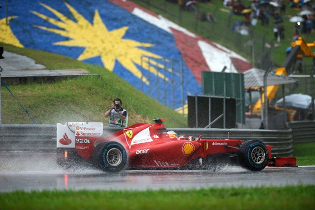 Rain stopped the 2012 race for an hour and is a constant threat in Sepang (Photo Credit: ferrari.com)