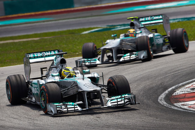 Rosberg leads Hamilton. The way it should have finished? (Photo Credit: Petronas Mercedes GP)