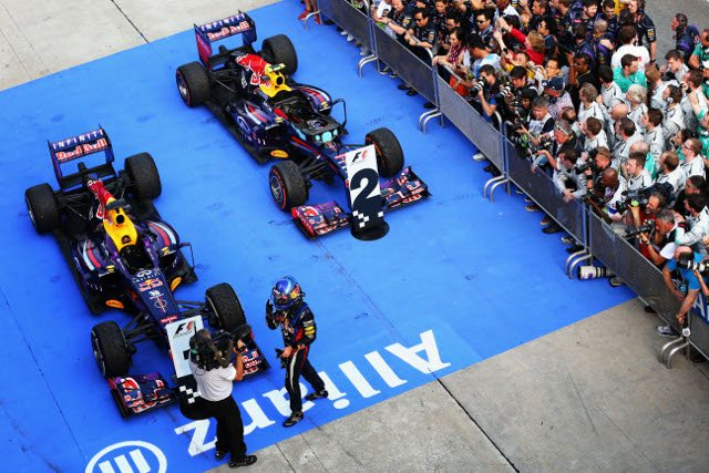 Vettel passed Webber after the teammates had made their final pitstops (Photo Credit: Paul Gilham/Getty Images)