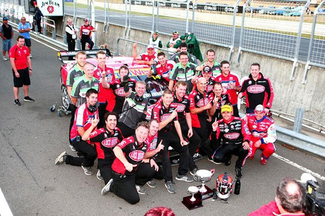 Brad Jones Racing celebrate the clean sweep in Tasmania