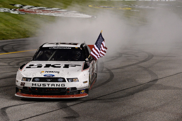 Keselowski survived a sprint finish after a late caution (Photo Credit: Patrick Smith/Getty Images)