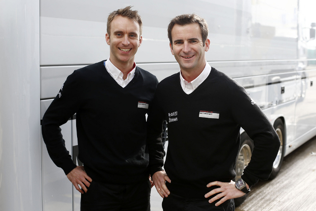 Bernhard (left) and Dumas raced for Porsche's LMGTE pro squad in the WEC at Silverstone (Photo Credit: Porsche AG)