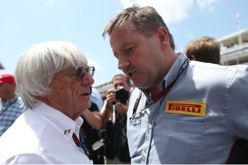 Bernie Ecclestone and Pirelli motorsport director Paul Hembery have a chat on the grid in Barcelona - Credit: Pirelli