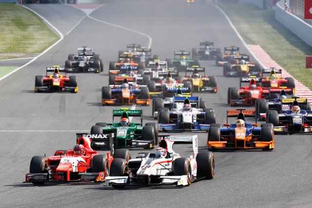 Coletti took the race lead around the outide of turn one (Photo Credit: Alastair Staley/GP2 Series Media Services)