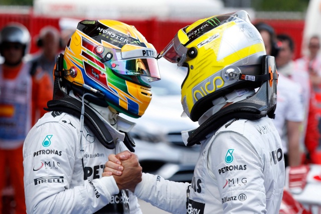 Rosberg and Hamilton put the Silver Arrows at the head of the field (Photo Credit: Mercedes GP)
