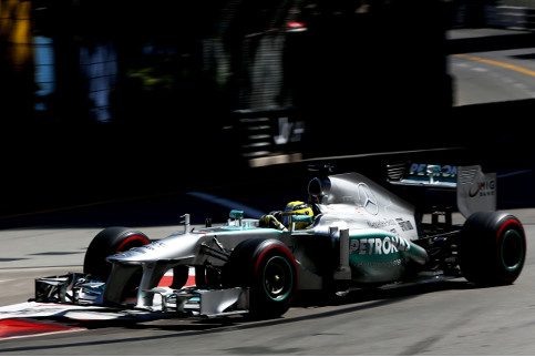 Nico Rosberg on his way to victory in Monaco, under the shadow of a secret tyre test - Credit: Pirelli
