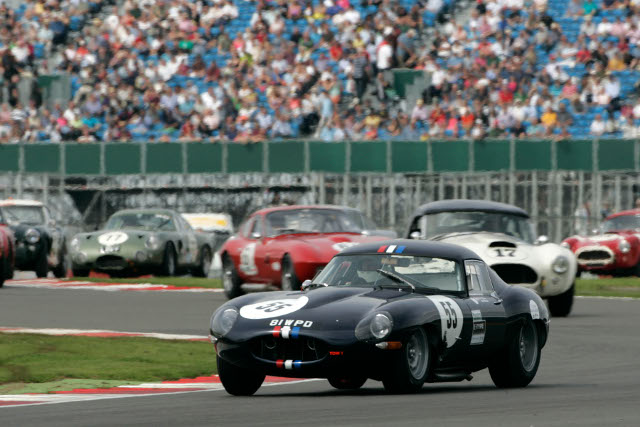 E-Types face the likes of AC Cobras, Aston Martins, Porsches and Ferraris in the race (Credit: Silverstone Classic)