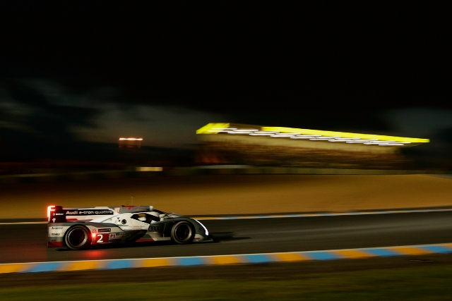 Duval found a clear track as darkness gathered at Le Mans (Credit: Audi Motorsport)