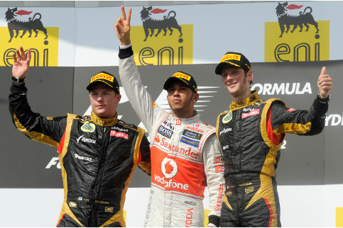 The top three finishes at the 2013 Hungarian Grand Prix - Photo Credit: Pirelli