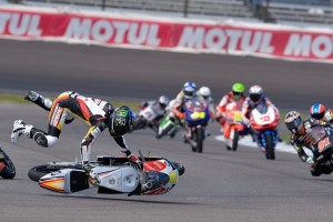 After another promising qualifying display, Jack Miller crashed out, fracturing his collarbone in the process (Photo Credit: MotoGP.com)