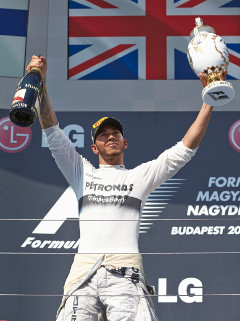 Hamilton celebrates victory in Hungary - Credit: Mercedes AMG Petronas