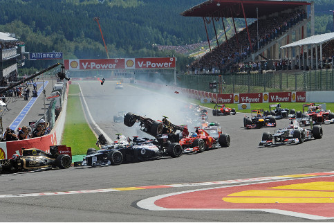 The chaotic start to last season's Belgian Grand Prix - Credit: Ferrari