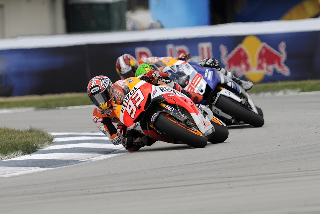 Marc Marquez moments after passing Jorge Lorenzo - Photo Credit: Bridgestone