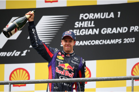 Vettel celebrates the 31st victory of his F1 career - Clive Mason/Getty Images
