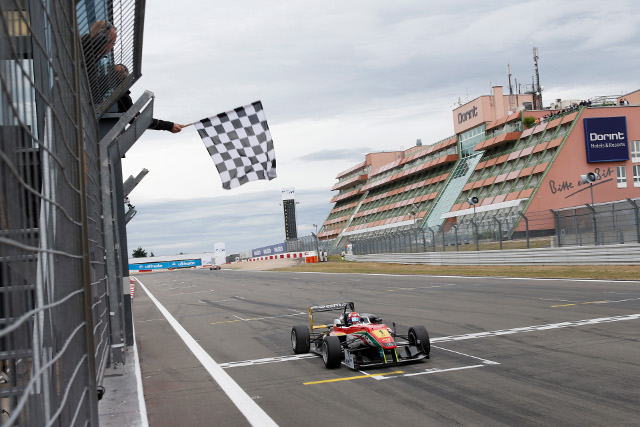 Marciello completed his third win from his third pole of the weekend (Credit: FIA Formula 3 European Championship/Thomas Suer)