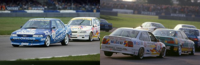 Rouse fought to victory (l), while the title fight (r) boiled over behind(Photo: btcc.net)