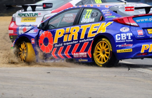 Jordan and Plato tangled at Brands - but survived (Photo: btcc.net)