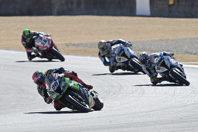 Tom Sykes on his way to victory in race one - Photo Credit: Kawasaki