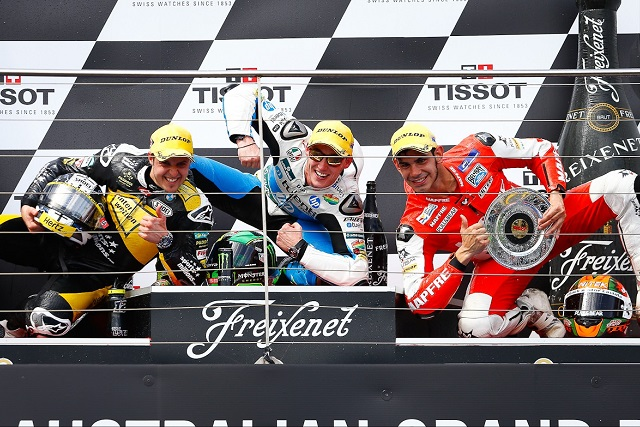 The podium finishers at Phillip Island - Photo Credit: MotoGP.com