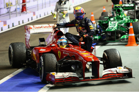 Webber and Alonso both got reprimands in Singapore for this stunt - Credit: Paul Gilham/Getty Images