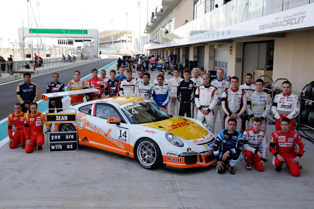 The Supercup field gathered to pay tribute to Edwards during the finale weekend (Credit: Porsche AG)