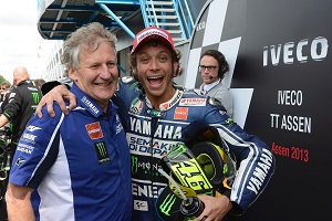 Rossi and Burgess celebrate what looks set to be their final win together at Assen (Photo Credit: Yamaha)