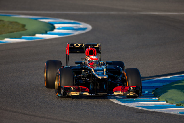 Grosjean did take the old E21 around Jerez last year - Credit: Malcolm Griffiths/Lotus F1 Team
