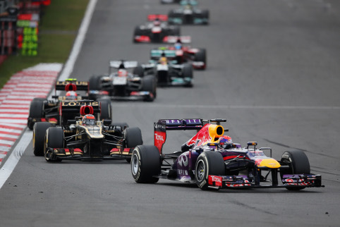 Vettel leads the Korean GP. Fire truck not pictured (Credit: Clive Rose/Getty Images)