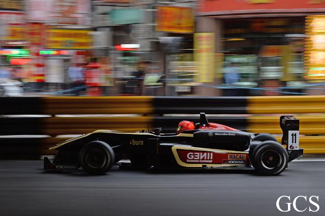 Ocon's F3 car sported the Lotus colours in Macau (Credit: GCS)