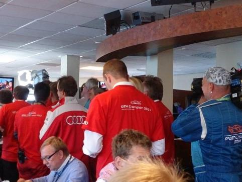 Team Phoenix mechanics get the DTM title celebrations started (Credit: Alex Goldschmidt)