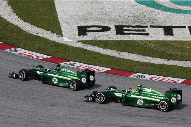 The Caterham drivers fight it out in Malaysia - Photo Credit: Caterham F1 Team