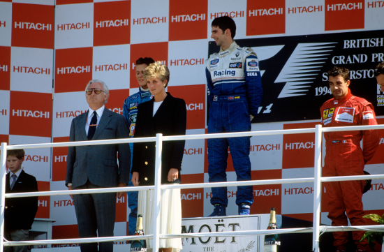 Hill looks down on Schumacher on the Silverstone podium. The race would be the catalyst for one of the season's many controversies (Credit: LAT Photographic)