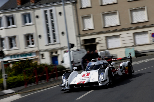 Kristensen took the R18 e-tron quattro through the city of Le Mans (Credit: Audi Motorsport)