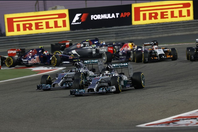 The start of the 2014 Bahrain Grand Prix - Photo Credit: Mercedes