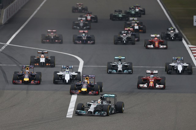 Lewis Hamilton leads away at the start - Photo Credit: Mercedes